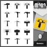Mono Icons - Hammers 1 Royalty Free Stock Photos
