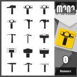 Mono Icons - Hammers 1 Royalty Free Stock Photos