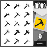 Mono Icons - Hammers 2. 15 different models of hammers and mallets. Flat monochromatic icons with transparent background Stock Photo