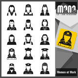 Mono Icons - Women at work. Flat monochromatic icons. Professions: Worker women. Set of 15 flat monochromatic icons. No borders. No margin. Transparent Stock Image