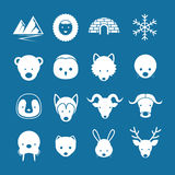 Mono insieme di colore delle icone piane artiche degli animali Fotografia Stock Libera da Diritti