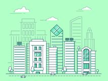 Mono línea ejemplos de paisaje urbano con los edificios del negocio ilustración del vector