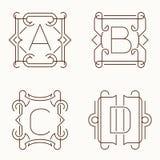 Mono línea monogramas del vector A, B, C, D Imagen de archivo libre de regalías