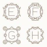 Mono línea monogramas del vector E, F, G, H Fotos de archivo libres de regalías