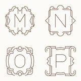 Mono línea monogramas del vector M, N, O, P Imágenes de archivo libres de regalías