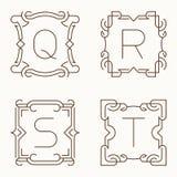 Mono línea monogramas del vector Q, R, S, T Stock de ilustración