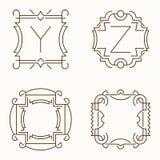 Mono línea monogramas del vector Y, Z Imágenes de archivo libres de regalías