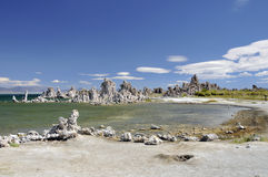 Mono Lake. Mono Lake and tufa formation with a clear green water and white sandy beach in the summer Stock Images