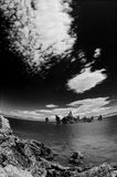 Mono Lake in Black and White. Mono Lake in Black and White, super wide angle and dramatic sky Royalty Free Stock Image