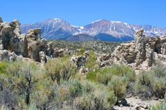 Mono Lake & Mountains. Mono Lake in the Sierra Nevada Stock Photo