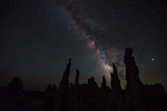 Mono Lake at Night Milky Way California Landscapes. Milky Way rising over Tufa Towers Mono Lake California Royalty Free Stock Photography