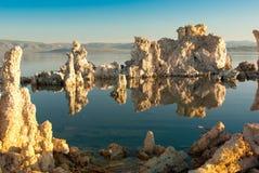 Mono Lake Reflections. Mono Lake's weird tufa formations at sunrise royalty free stock images