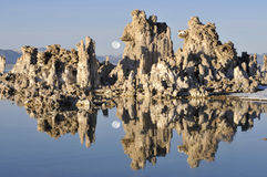 Mono Lake and the rising moon stock image