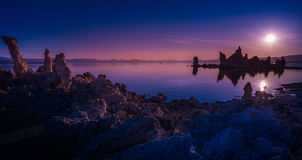 Mono Lake Sunrise. Mono Lake Tufa Towers Reflection in the water at Sunrise Panorama Stock Image