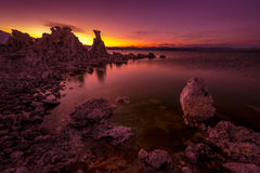 Mono Lake after Sunset. Calm Magenta Sunset Sky reflection in Mono Lake Inyo National Forest California, USA Stock Image