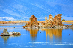 Mono lake. Tall tufa formations in Mono lake California Royalty Free Stock Image