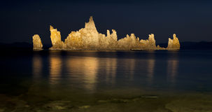 Mono Lake Tufa Formations at Night Stock Image