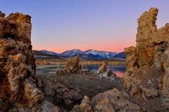 Mono Lake tufa formations at sunrise Stock Photography