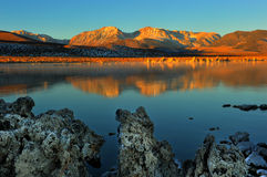 Mono Lake tufa formations at sunrise Royalty Free Stock Images