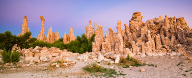 Mono Lake, Tufa Spires. Tufa towers emerging from the surface, Mono Lake, California Royalty Free Stock Photo