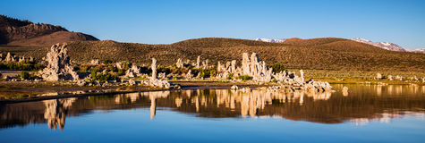 Mono Lake, Tufa Spires. Tufa towers emerging from the surface, Mono Lake, California Royalty Free Stock Image