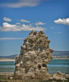 Mono Lake Tufa Tower, California. A vertical shot of a white limestone tufa at Mono Lake, a salty lake with water three times saltier than the ocean, in the Stock Images