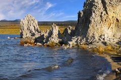 Mono Lake Tufa Towers, California. Tufa towers - the Mono Lake shore. State Natural Reserve, California Stock Images