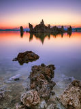 Mono Lake. Tufa towers emerging from the surface, Mono Lake, California Royalty Free Stock Photos