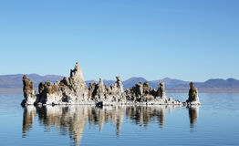 Mono Lake Tufas. Extraterrestrial rock structures protruding from the surface of Mono Lake, found along the 395 highway in California, US Royalty Free Stock Photo