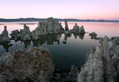Mono Lake Twilight. Tufa Formations at Mono Lake east of the Sierra Nevada Mountains Stock Photos