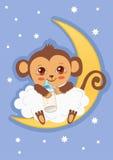 Mono lindo del bebé en la luna que sostiene una botella de leche Tarjeta del vector de la historieta Fotos de archivo libres de regalías