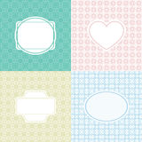 Mono line graphic design template - labels and badges on decorative background with simple seamless pattern. Vector illustration. Royalty Free Stock Photo