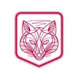 Fox Head Crest Monoline Stock Photos