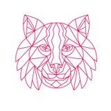 Lynx Bobcat Head Mono Line. Mono line illustration of a Lynx Bobcat, medium-sized wild cat, head viewed from front on isolated background Stock Photo
