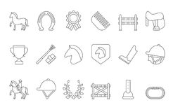 Mono line symbols of equestrian sport isolate on white. Linear horseback and rider, race icon set, animal with saddle, equine and stallion, vector illustration Royalty Free Stock Photo