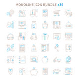 Mono line vector icon bundle 36 items Royalty Free Stock Photo