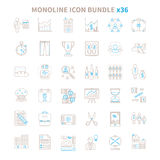 Mono line vector icon bundle 36 items Stock Image