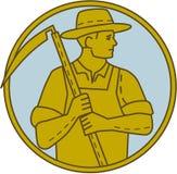 Mono linea dell'agricoltore del cerchio organico di Scythe Looking Side Fotografia Stock