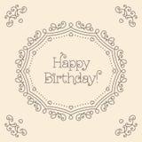 Mono linea monogramma del biglietto di auguri per il compleanno felice di stile di arte Fotografie Stock