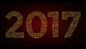 Mono linea simboli eleganti di anno degli elementi di progettazione Pagina Illustrazione di vettore Fotografia Stock Libera da Diritti