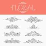 Mono linha fina elementos decorativos florais do projeto Fotografia de Stock Royalty Free