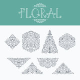 Mono linha fina elementos decorativos florais do projeto Fotografia de Stock