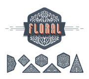 Mono linha fina elementos decorativos florais do projeto, grupo de isolado Fotografia de Stock