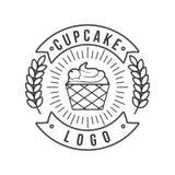 Mono linha vetor do vintage do logotipo do queque ilustração do vetor