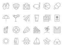 Mono linje bilder av temat för sommartid symbolsinternetpictograms ställde in vektorrengöringsdukwebsite Royaltyfri Bild