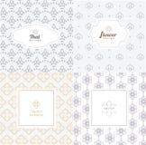 Mono linje mallar för vektor för grafisk design - etiketter och emblem Royaltyfri Foto