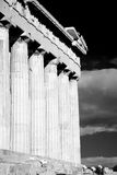 Mono Parthenon colonnade and entablature with floodlights Stock Photography