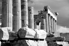 Mono piles of stones before ruined Parthenon Stock Photography