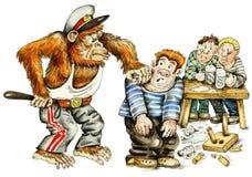 Mono-policía que arresta a gamberros libre illustration