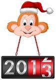 Mono que cuelga la etiqueta 2013 de la cuenta descendiente ilustración del vector